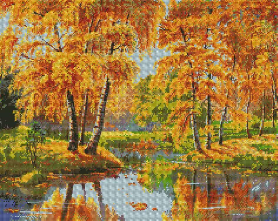 рисованная картинка осень золотая